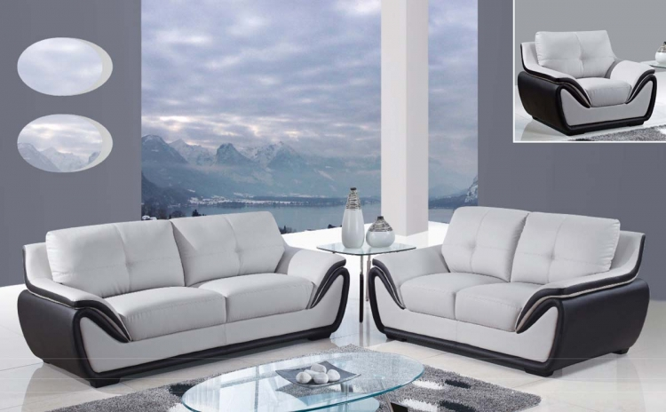 3250 Sofa Set - Grey/Black/Bonded Leather with Wood Legs
