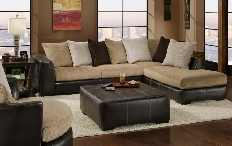 3480 Sectional Sofa Set - Cord/Bicast - Beige/Chocolate - Global Furniture