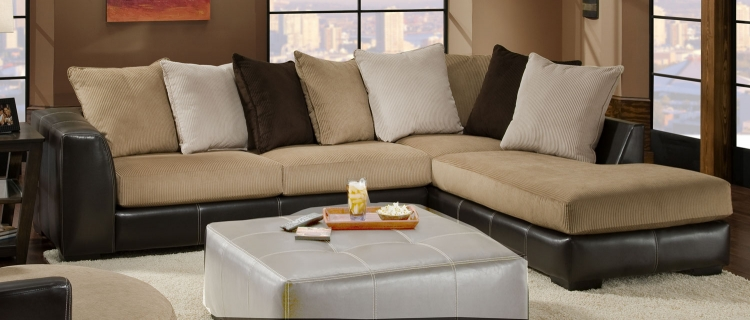 3480 Sectional Sofa - Cord/Bicast - Beige/Chocolate - Global Furniture