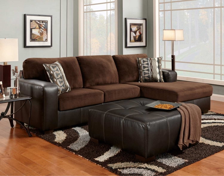 3550 Sectional Sofa Set - Vel Suede/Bicast - Chocolate - Global Furniture