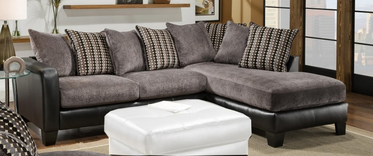 3600 Sectional Sofa - Grey Fabric with Black Bicast - Global Furniture
