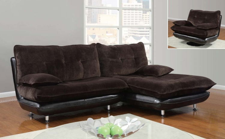 3613 3 Piece Sectional Sofa - Champion Chocolate - Global Furniture