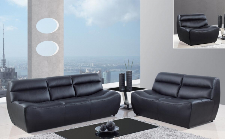 3730 Sofa Set - Black/Bonded Leather with Vinyl Legs - Global Furniture