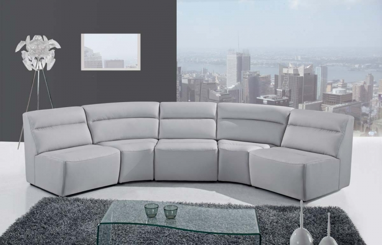 3730 5 Piece Sectional Sofa - Grey - Bonded Leather - Global Furniture