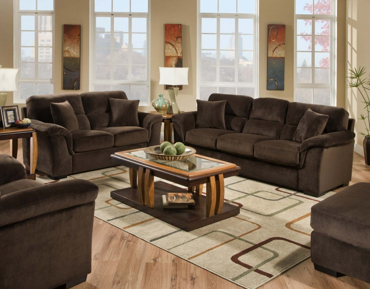 3880 Sofa Set - Argus Fabric - Coffee - Global Furniture