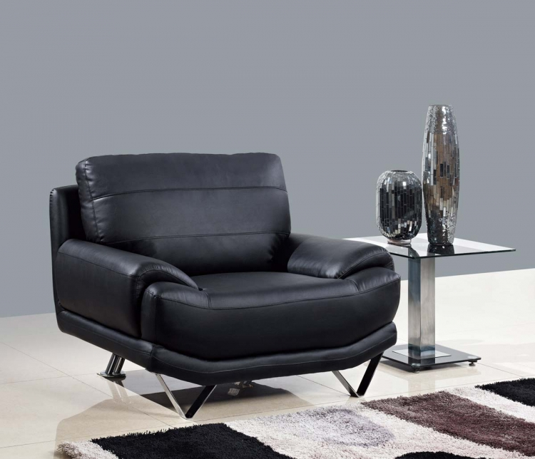 4030 Chair - Black/Bonded Leather with Metal Legs - Global Furniture