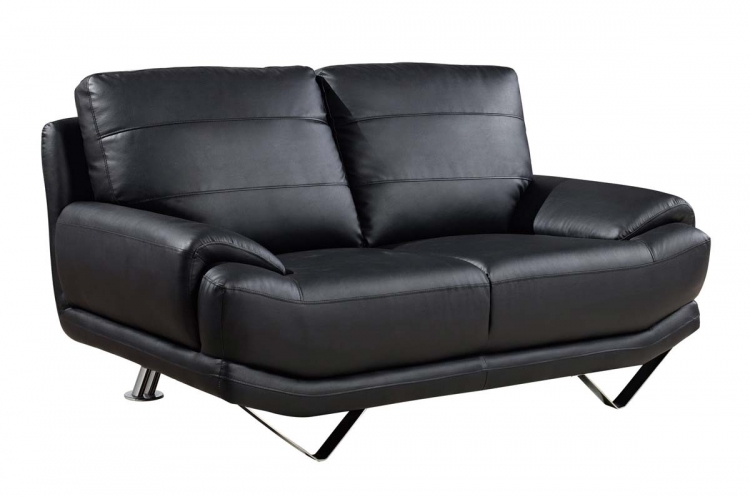 4030 Love Seat - Black/Bonded Leather with Metal Legs - Global Furniture