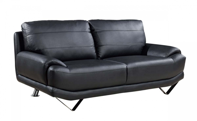 4030 Sofa - Black/Bonded Leather with Metal Legs - Global Furniture