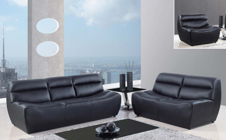 4030 Sofa Set - Black/Bonded Leather with Metal Legs