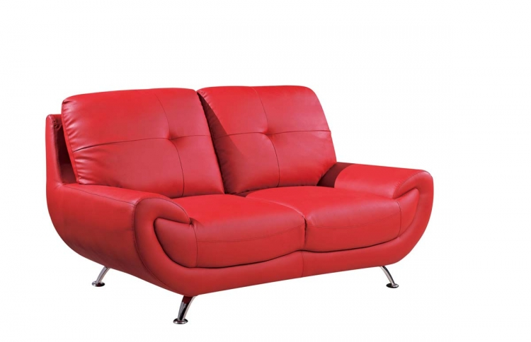 4120 Love Seat - Red/Bonded Leather with Metal Legs