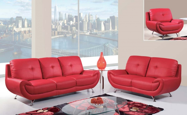 4120 Sofa Seat - Red/Bonded Leather with Metal Legs - Global Furniture