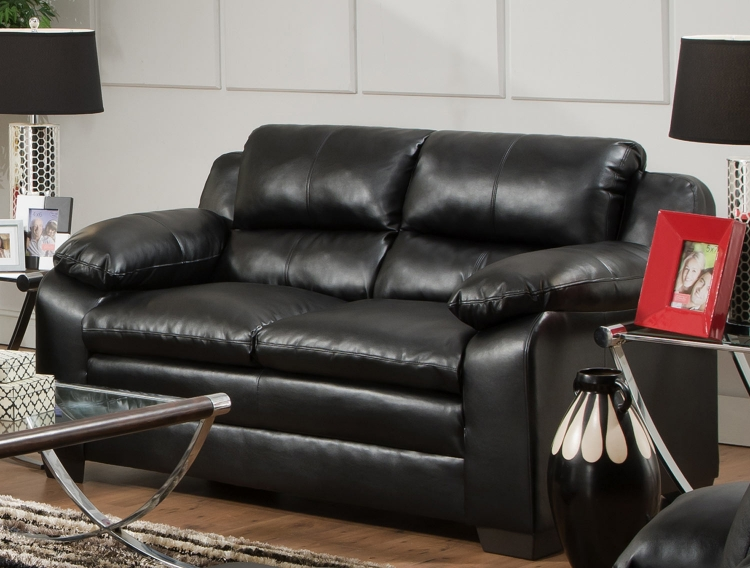 5066 Loveseat - Bonded Leather - Black- Global Furniture