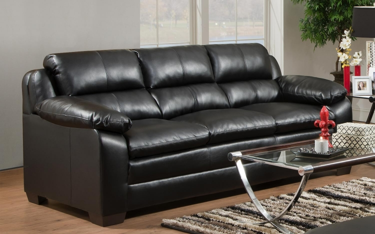 5066 Sofa - Bonded Leather - Black- Global Furniture