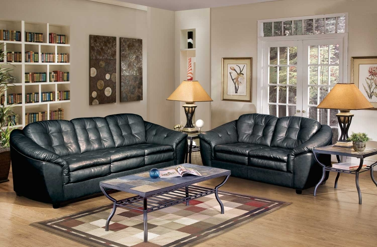 5200 Sofa Set - Bonded Leather - Black - Global Furniture