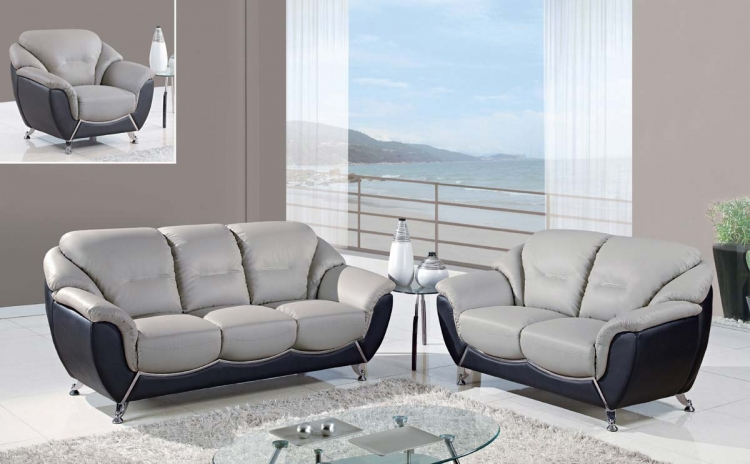 6018 Sofa Set - Gray/Black - Bonded Leather/Metal Legs - Global Furniture
