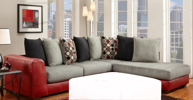 6350 Sectional Sofa - Micro Fabric/Bicast - Gray/Red - Global Furniture