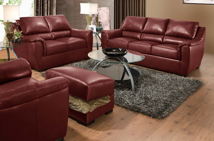 6541 Sofa Set - Bonded Leather - Crimson - Global Furniture
