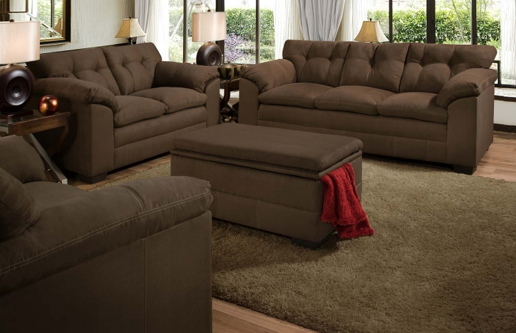 6765 Sofa Set - Micro Fabric - Espresso - Global Furniture