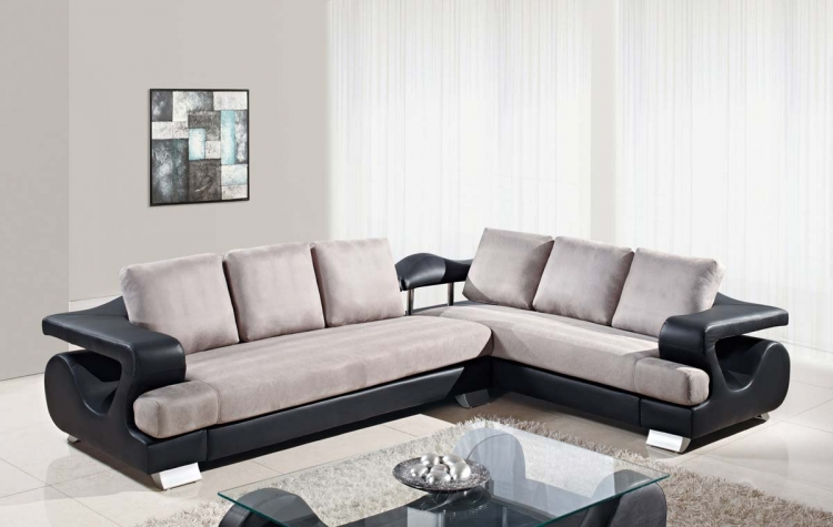 7208 2 Piece Sectional Sofa - Black and Grey/MicroFiber Fabric/Bonded Leather - Global Furniture