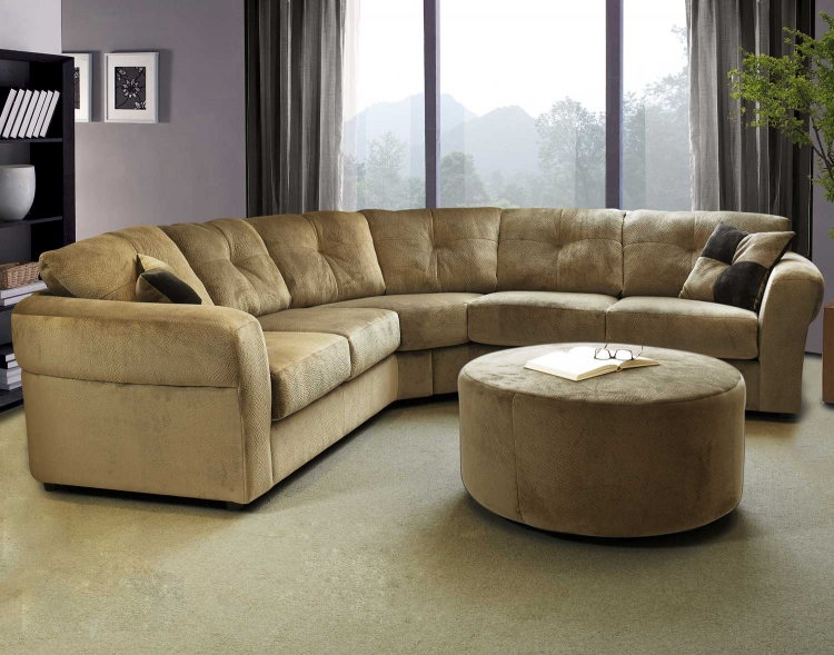 7505 Sectional Sofa Set - Olympian Fabric - Mocha - Global Furniture