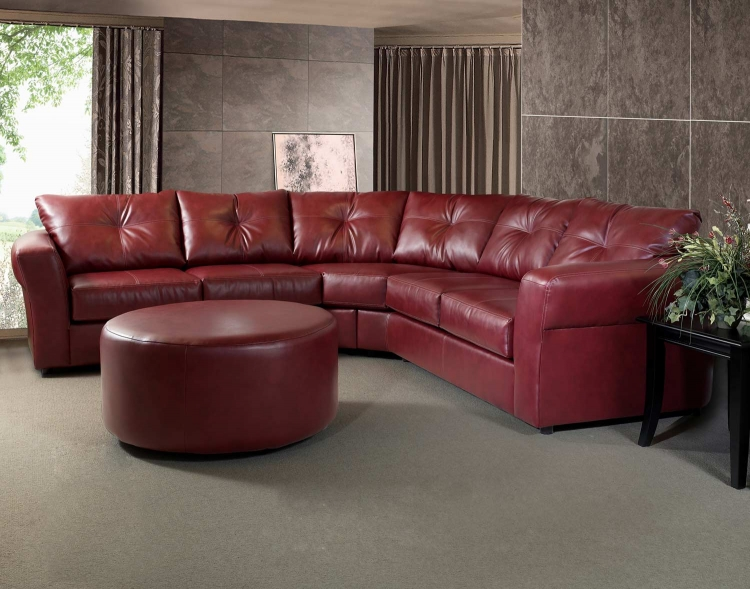 7510 Sectional Sofa Set - Bonded Leather - Red - Global Furniture