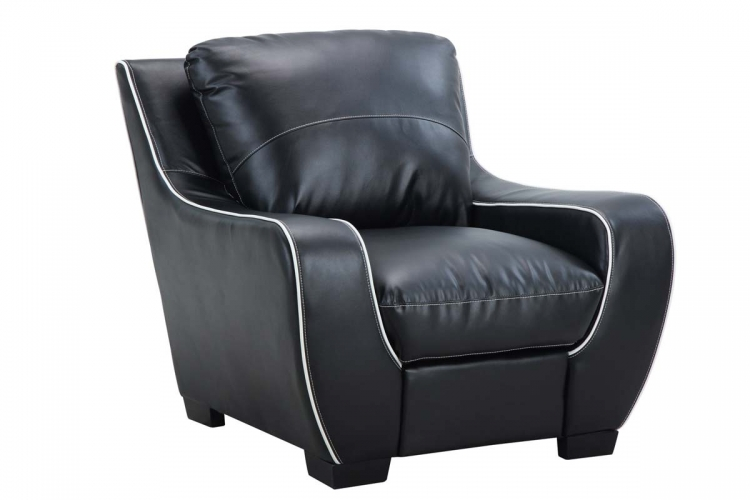 8080 Chair - Black/White/Bonded Leather with Vinyl Legs - Global Furniture
