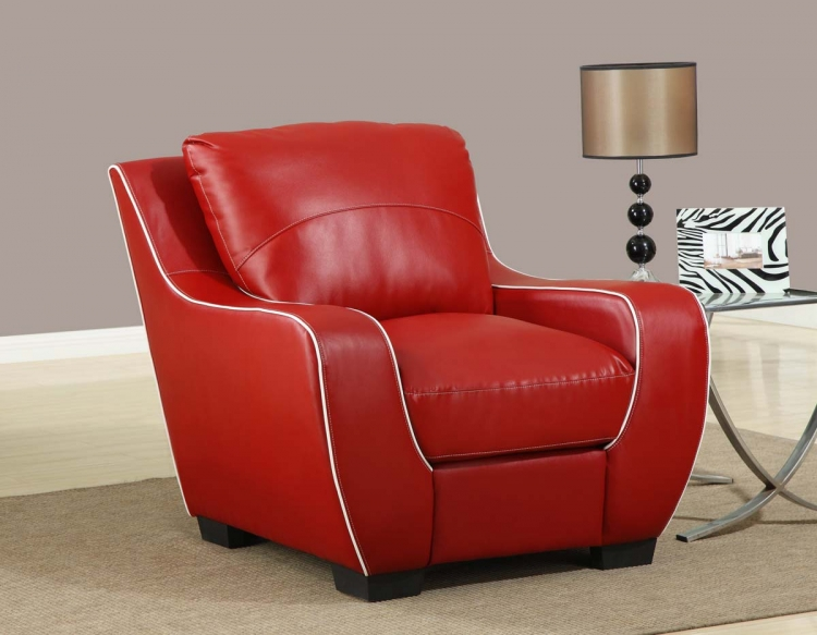 8080 Chair - Red/White/Bonded Leather with Vinyl Legs - Global Furniture