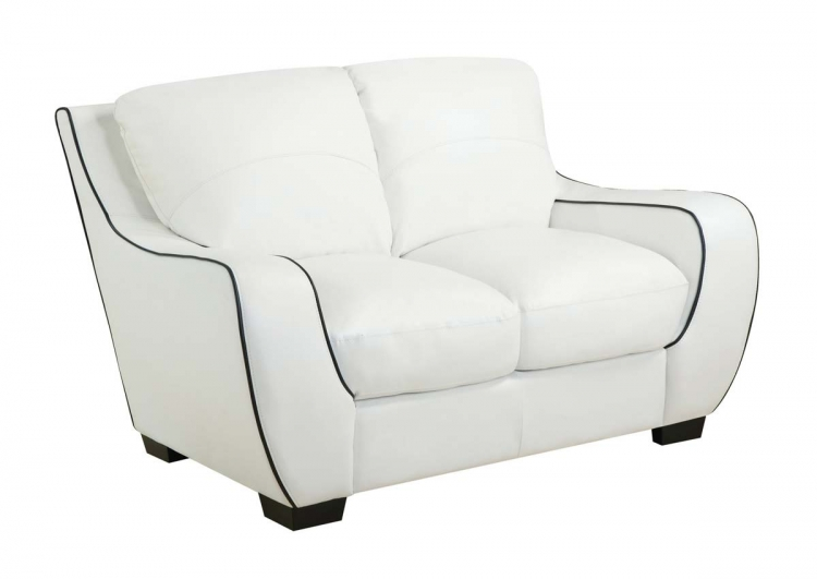 8080 Love Seat - White/Black/Bonded Leather with Vinyl Legs - Global Furniture