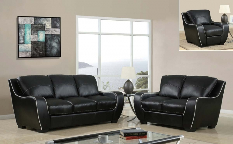 8080 Sofa Set - Black/White/Bonded Leather with Vinyl Legs - Global Furniture