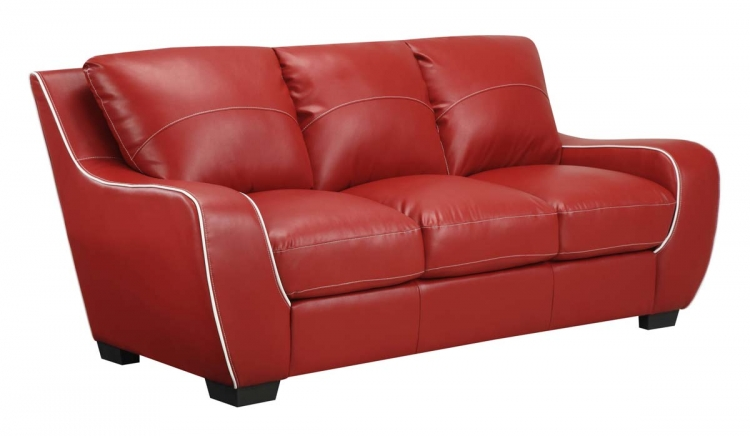 8080 Sofa - Red/White/Bonded Leather with Vinyl Legs - Global Furniture