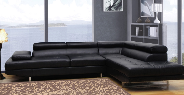 8136 Sectional Sofa - Bonded Leather - Black - Global Furniture