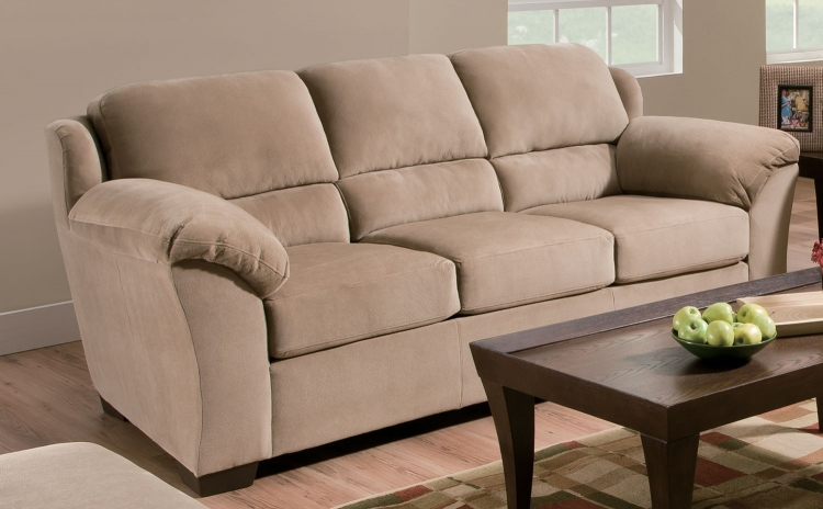 9020 Sofa - Vel Suede - Beige - Global Furniture