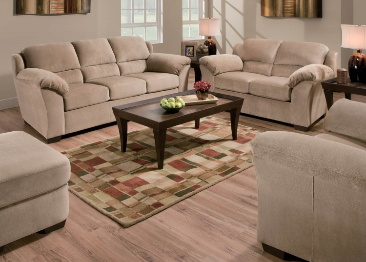 9020 Sofa Set - Vel Suede - Beige - Global Furniture