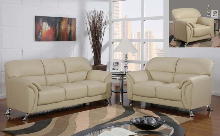 9103 Sofa Set - Cappuccino Vinyl/Metal Legs - Global Furniture