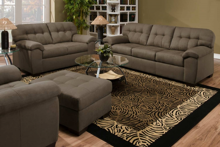 9558 Sofa Set - Micro Fabric - Mushroom - Global Furniture