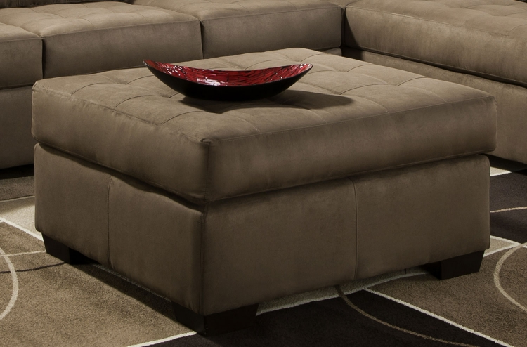 9560 Cocktail Ottoman - Micro Fabric - Mushroom - Global Furniture