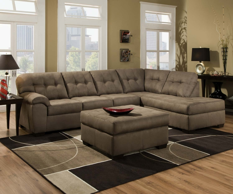 9560 Sectional Sofa Set - Micro Fabric - Mushroom - Global Furniture