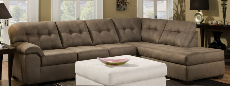 9560 Sectional Sofa - Micro Fabric - Mushroom - Global Furniture