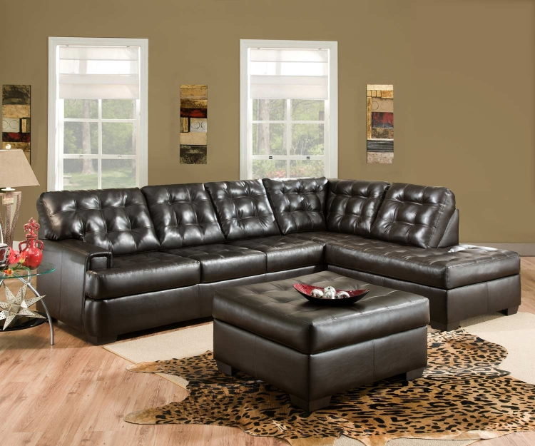 9590 Sectional Sofa Set - Bonded Leather - Espresso - Global Furniture