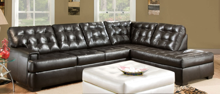 9590 Sectional Sofa - Bonded Leather - Espresso - Global Furniture