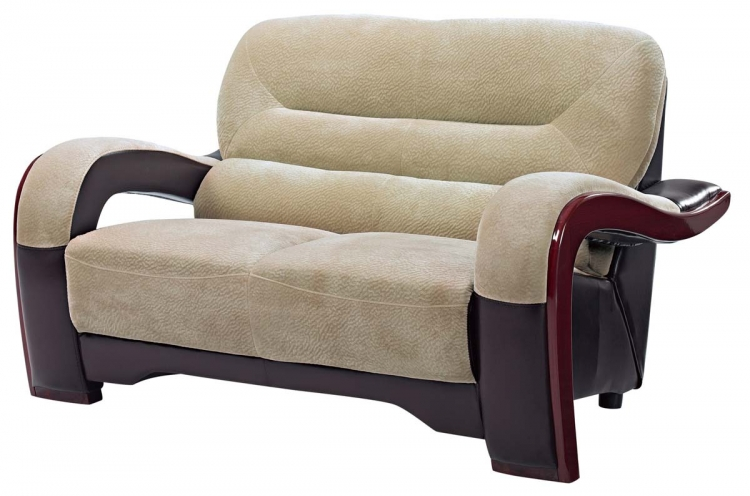 992 Love Seat - Champion/Froth Fabric/Mahogany Wood Legs - Global Furniture