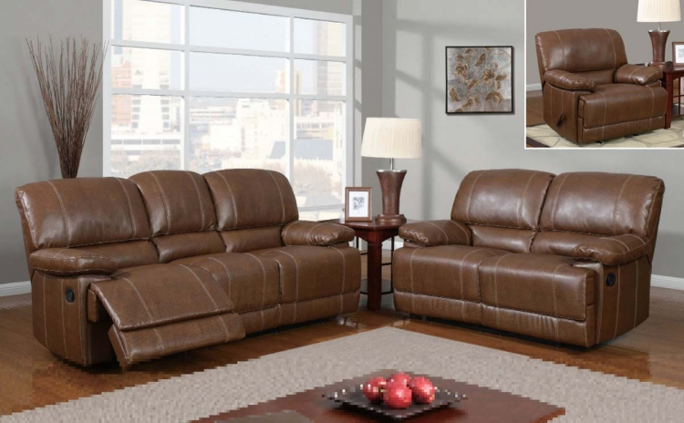 9963 Reclining Sofa Set - Bonded Leather - Brown