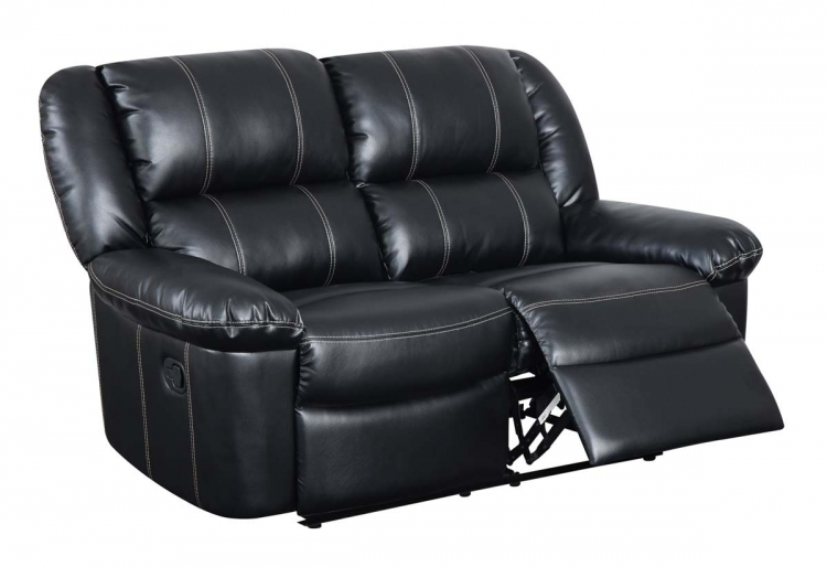 9966 Reclining Love Seat - Bonded Leather - Black