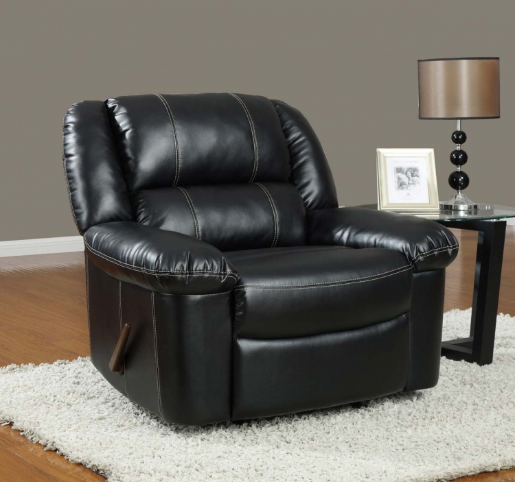 9966 Rocker Recliner Chair - Bonded Leather - Black - Global Furniture