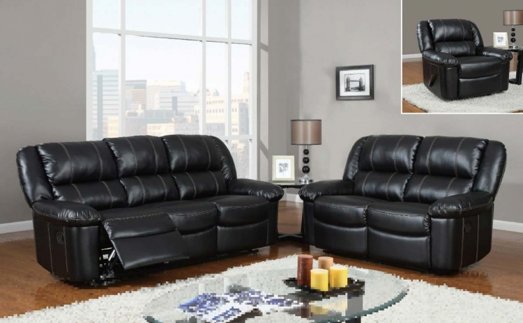 9966 Reclining Sofa Set - Bonded Leather - Black - Global Furniture