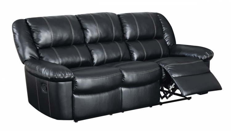 9966 Reclining Sofa - Bonded Leather - Black - Global Furniture