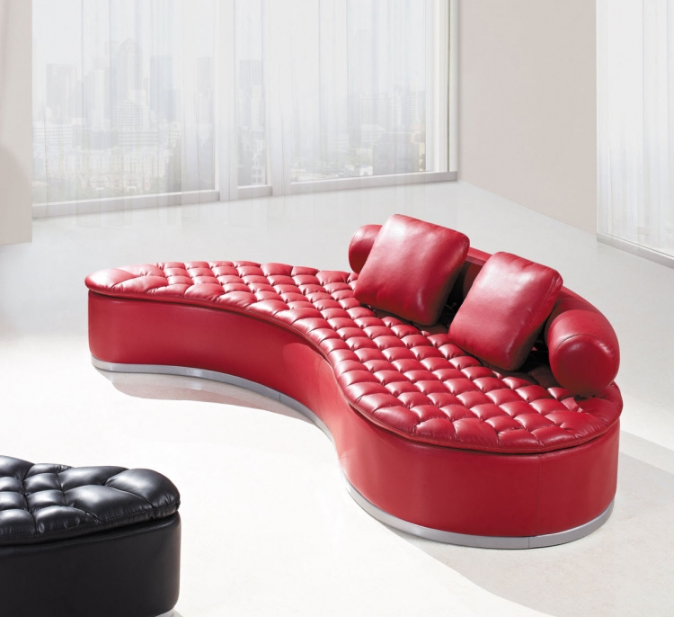 A005 Sofa - Red with Red Pillows - Bonded Leather