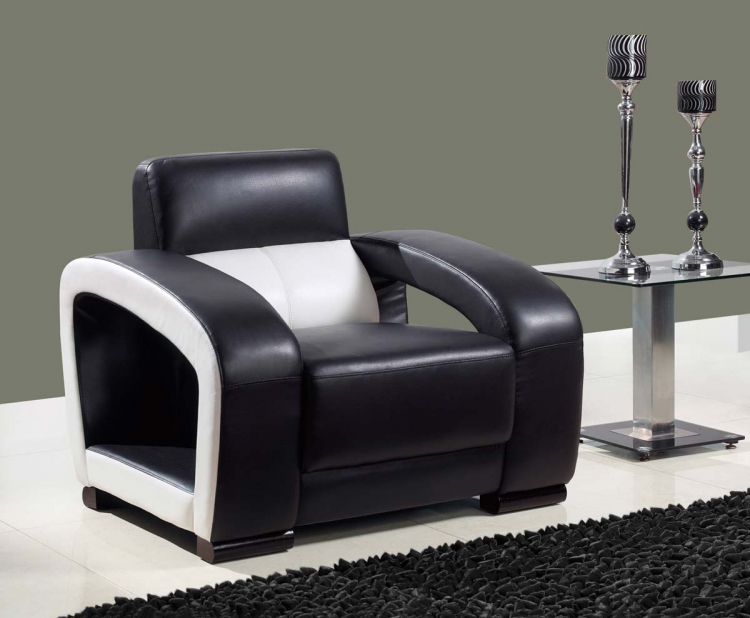 A199 Chair - Black/White/Ultra Bonded Leather with Wood Legs - Global Furniture