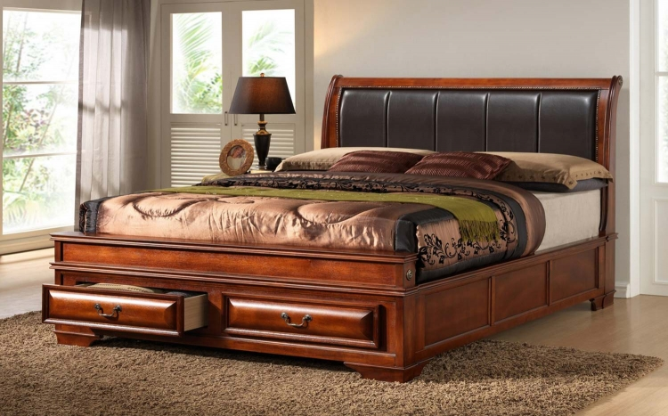 Veronica Bed - Antique Oak - Global Furniture