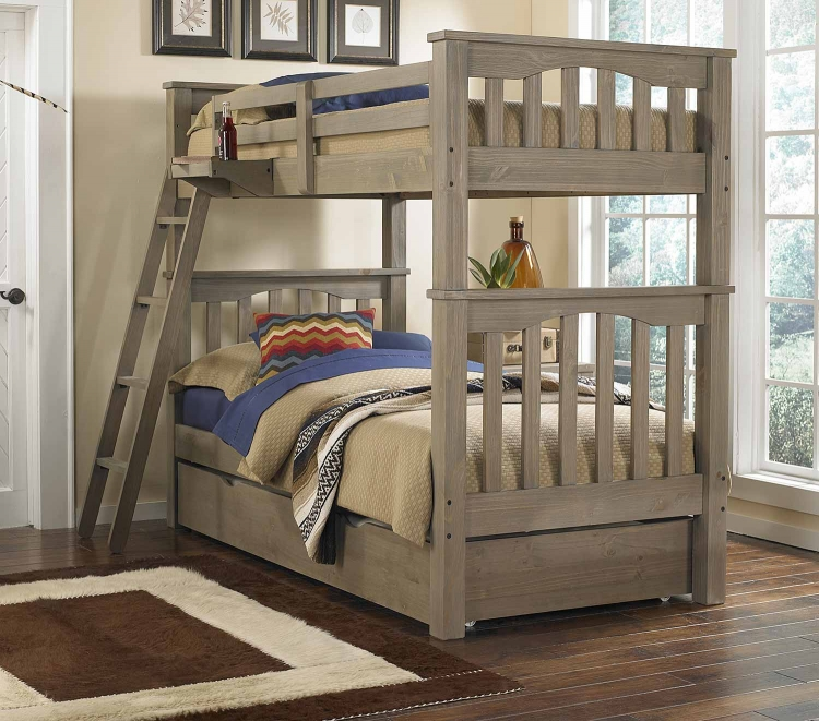 Highlands Harper Twin/Twin Bunk With Trundle - Driftwood